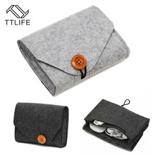 TTLIFE Home Storage Bag Key Coin Organizer Mini Felt Pouch Earphone SD Card Case Power Bank Data Cable Travel Package Wallet New