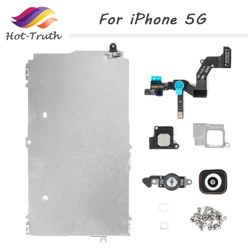 100% Grade AAA Full Set LCD Spare Parts for iPhone 5 5G Repair Parts Home Button+Speaker+Cable+Front Camera Free Shipping