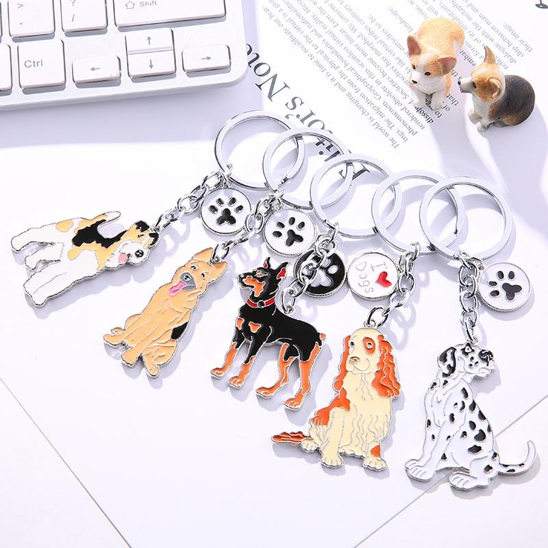 Spotty Dog Puppy Keyrings FREE GIFT BAG  UK Silver Dalmatian Dog Key Ring Dogs