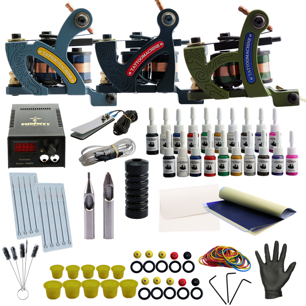 Professional Tattoo Kit Tattoo Machine 3Pcs Liner Shader Gun Permanent Makeup Tattoo Ink Set Power Supply Complete Tattoo Supply itatoo tattoo kit cheap beginner coil tattoo machine set kit tattoo ink rotary machine 2 gun liner supply professional tk1000005 page 4