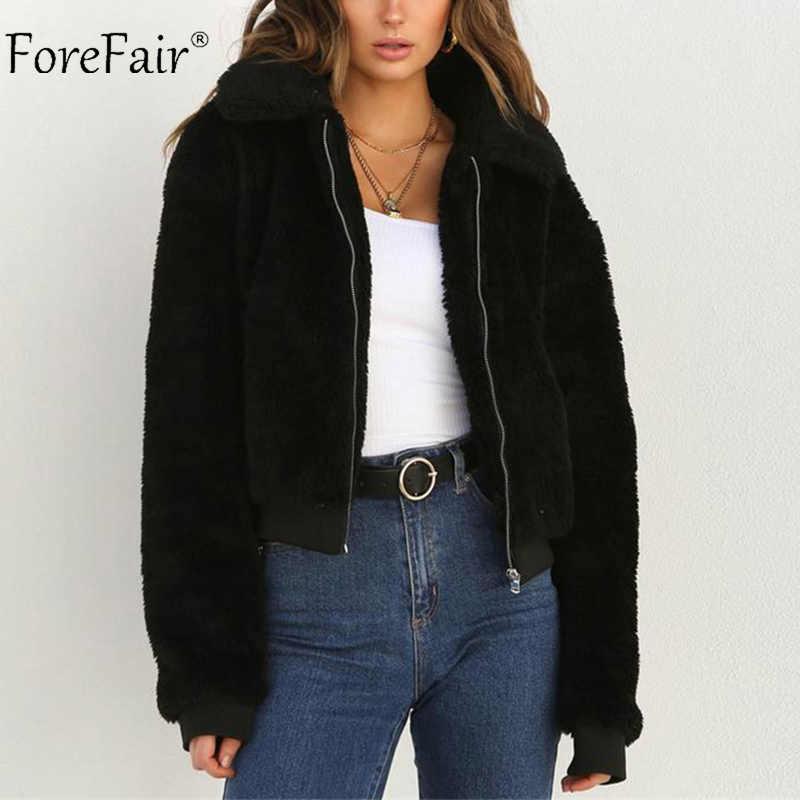 2dfe76280c551 ... Forefair Fleece Jacket Women Winter Faux Fur Teddy Bear Streetwear  Lapel Plus Size Warm Casual Cropped ...