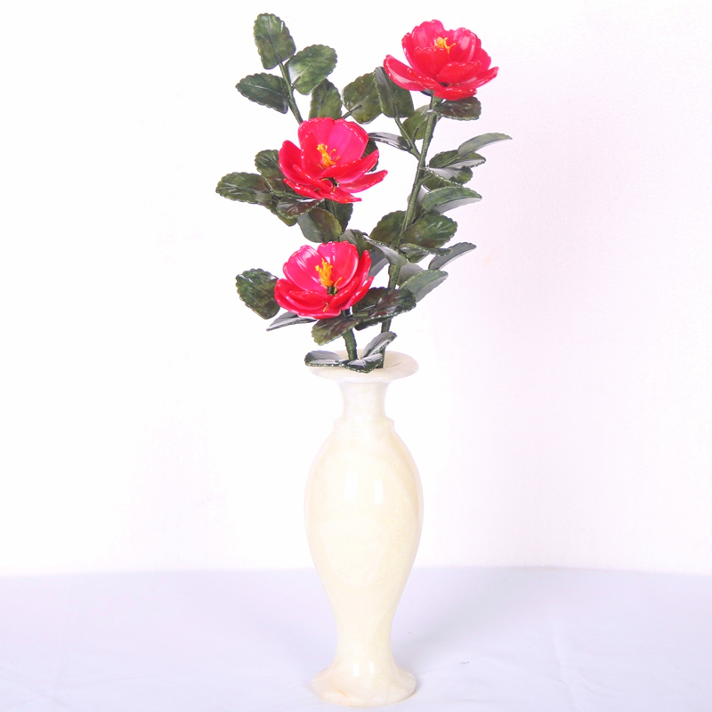 The old Beijing Palace series: Flowers vase Peony Flower Bonsai high-quality natural jade ornaments