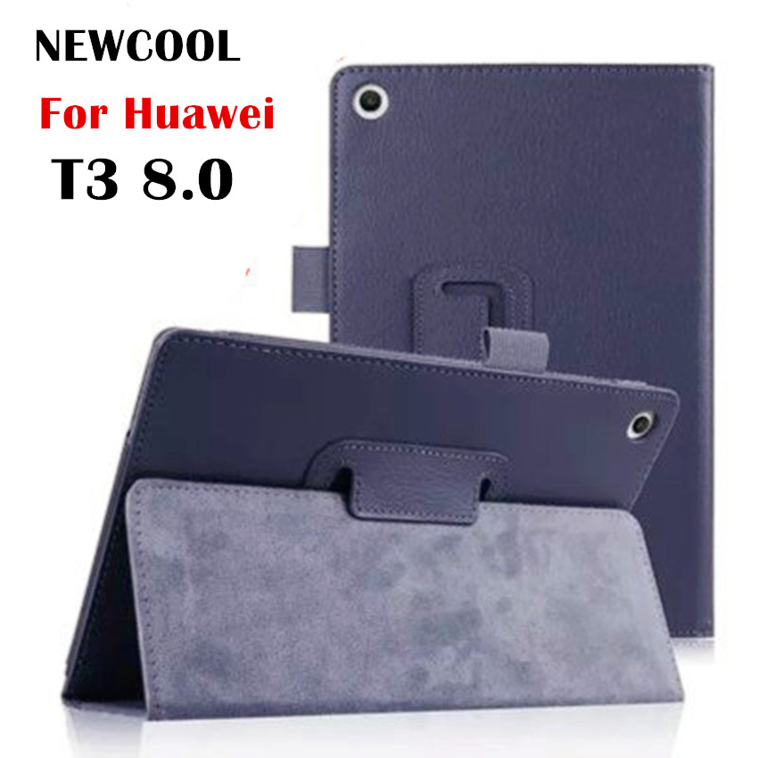 For Huawei T3 8 Litchi Grain Leather Flip Cover Case for Huawei MediaPad T3 8.0 KOB-L09 KOB-W09 tablet case stand cover for huawei mediapad t3 8 0 kob l09 kob w09 silk grain pu leather folding folio case 8 inch tablet pc cover stylus