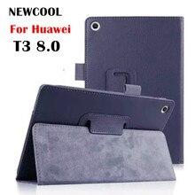 T3 8 Cuero de Grano del Lichí caso de la Cubierta Del Tirón para Huawei MediaPad T3 8.0 KOB-L09 KOB-W09 tablet caso del soporte de la cubierta