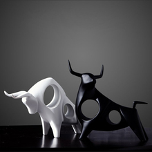 Ceramic cow Bull crafts  creative handicraft Cattle porcelain animal figurines & Miniatures black white fengshui home decoration
