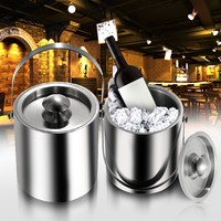 2L/3L Stainless Steel Ice Bucket Insulation Bilayer Wine Buckets Cold Barrel Wine Utensils Ice Bucket with Lid Portable Handle