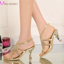 Summer Women Sandals Rhinestone Cutout Flower Fashion Gold Color Sandals Thick Heel Open Toe Party Prom Heels Wedding Shoes