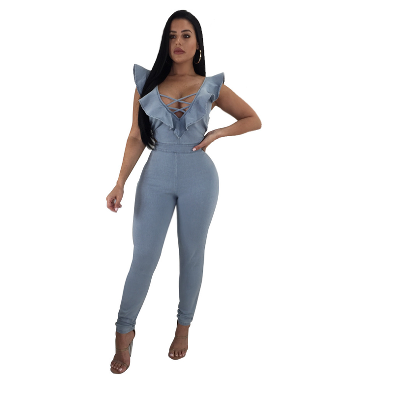 4b3de986472a Summer Women Elegant Slim Denim Jumpsuits Jeans Ruffles Deep V Sleeveless  Party Female Rompers Combinaison Femme