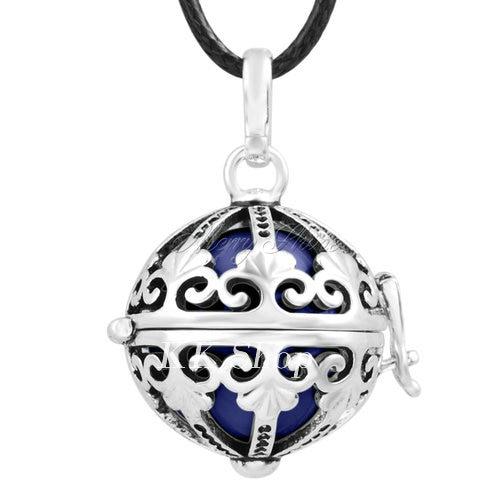Беременность подарок для ребенка из черненого Медь в форме металлической птичьей клетки кулон ангел абонент Подвески 20 мм Музыкальный шар, гармония Bola кулон Цепочки и ожерелья H119 - Окраска металла: Dark blue