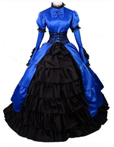 2016 Brand New Blue/Black Long Sleeve Lace Civil War/southern Belle Ball Gowns Victorian Dress For Christmas Price: US $105.99 /