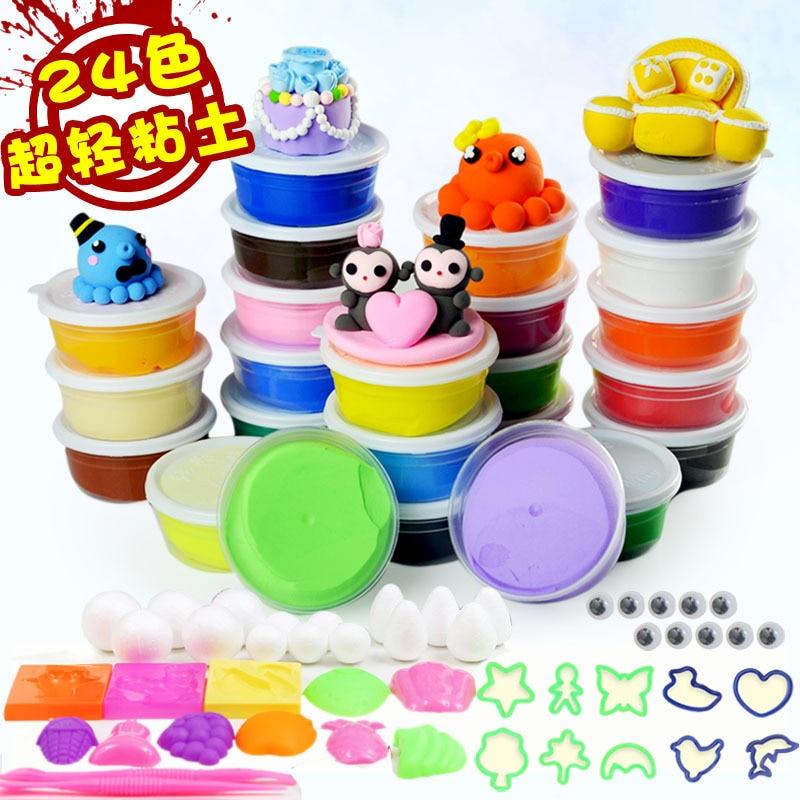 24 צבעים + גישה אוויר יבש צבעוני קליי קר חרסינה לשחק בצק Playdough ילדים Doh קצף חימר Kids Intelligent Plasticine