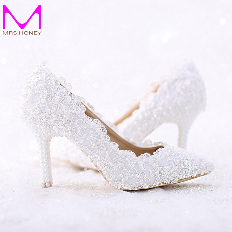 Pointed Toe White Lace and Pearl Bridal Wedding Shoes Women Thin Heel Comfortable Dancing Shoes Handmade Birthday Party Pumps luxurious elegant ivory pearl wedding party dancing shoes bridal shoes pointed toe kitten heeled shoes woman lady dress shoes