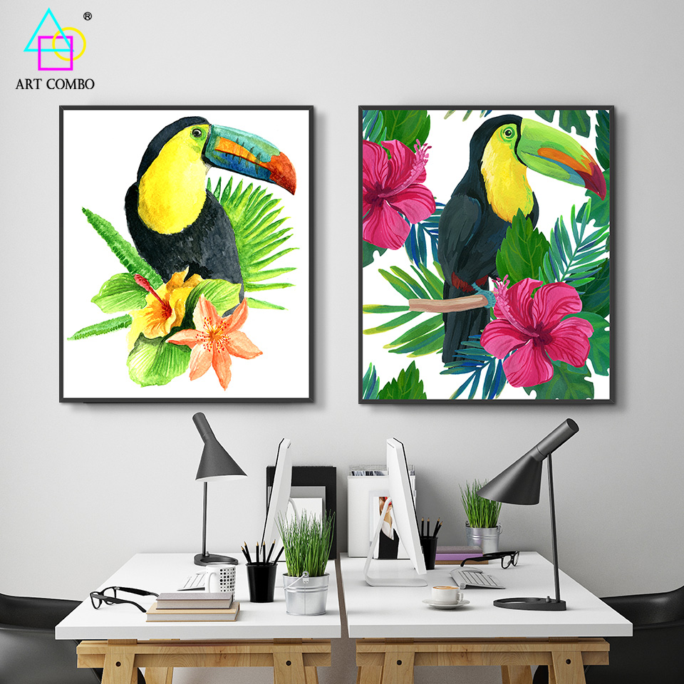 Modern Canvas Painting Lovely Interesting Bird Toucan Wall