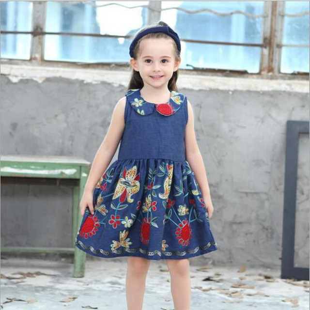 Baby Girl Dress Summer Children Sleeveless Denim Blue Embroidery ...