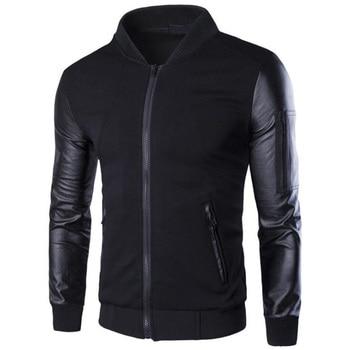 Fashion Brand Men Hoodies New Patchwork Leather Sleeve Sweatshirt Men Jacket Coat Casual Coat Slim Pullover Tracksuit 1