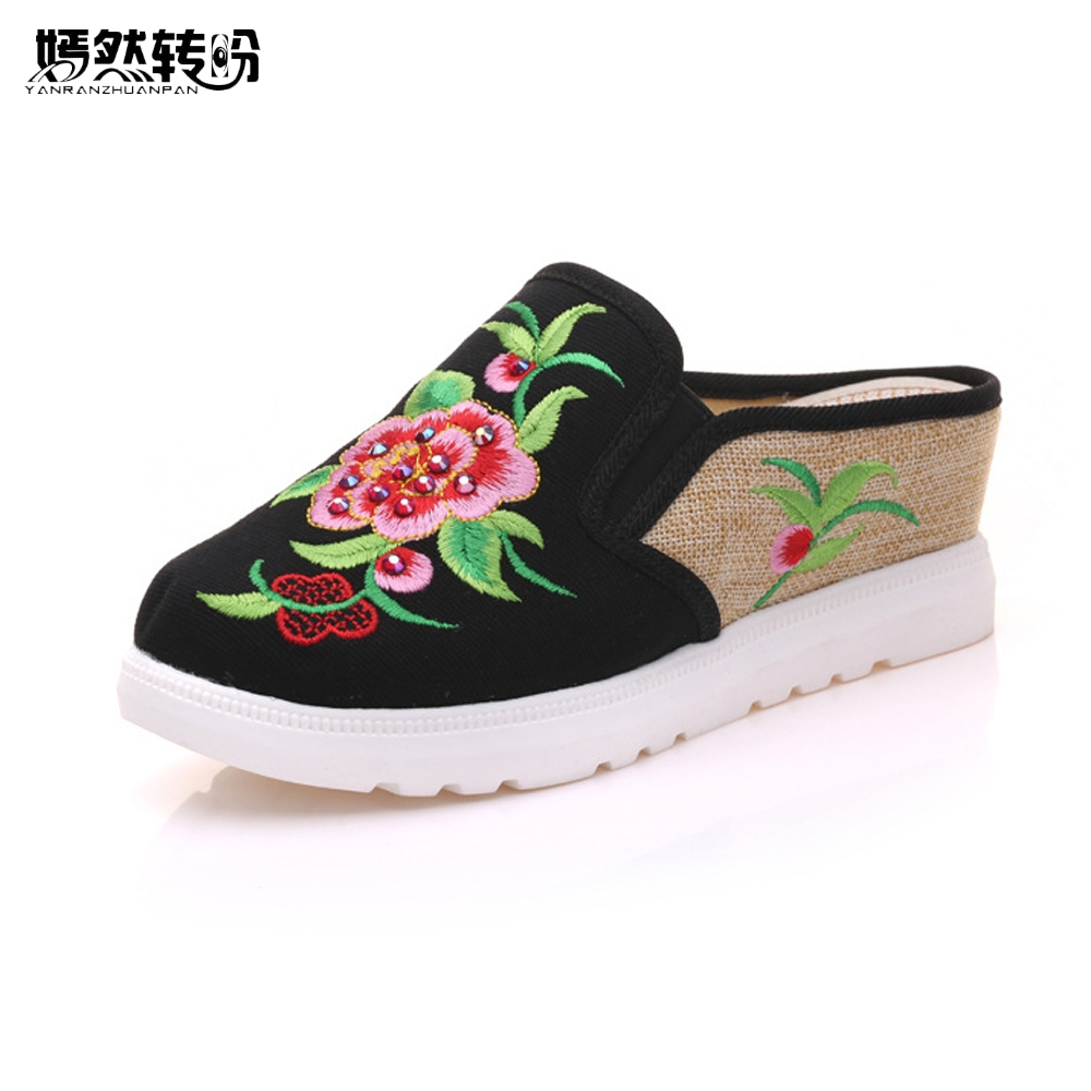 Vintage Women Slippers Spring Summer Chinese Peony Floral Embroidered Casual Sandals Comfortable Shoes Woman Chinelo Feminino vintage embroidery women flats chinese floral canvas embroidered shoes national old beijing cloth single dance soft flats
