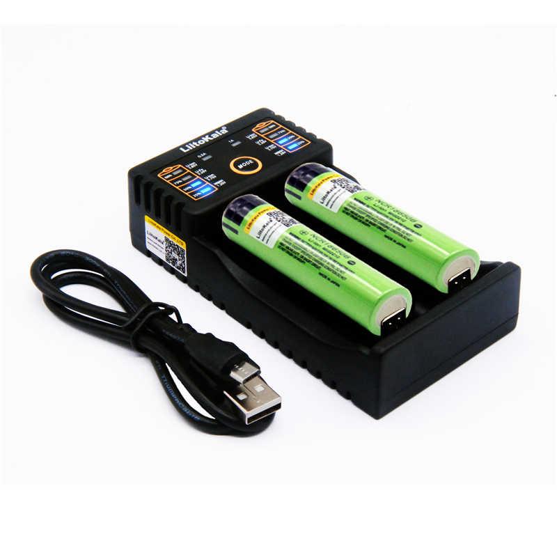 2 шт. Liitokala 3,7 в 3400 мАч 18650 литий-ионный перезаряжаемый батарея (без PCB) + Lii-202 USB 26650 18650 AAA AA умный погрузчик