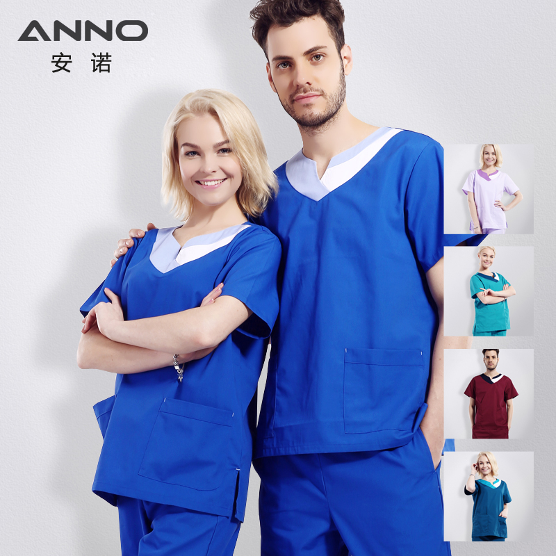 ANNO Medical Suit Scrubs Set Medical Clothing for Unisex Surgical Clothing for Classic V neck Scrub στολές Δωρεάν αποστολή