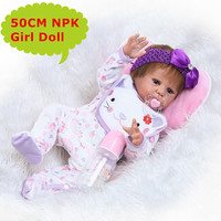 NPK 50cm Baby Reborn Doll Real Alive Full Silicone Bebe Reborn Menina de Silicome With Soft Mohair Kids Playmate Toys Girls Gift
