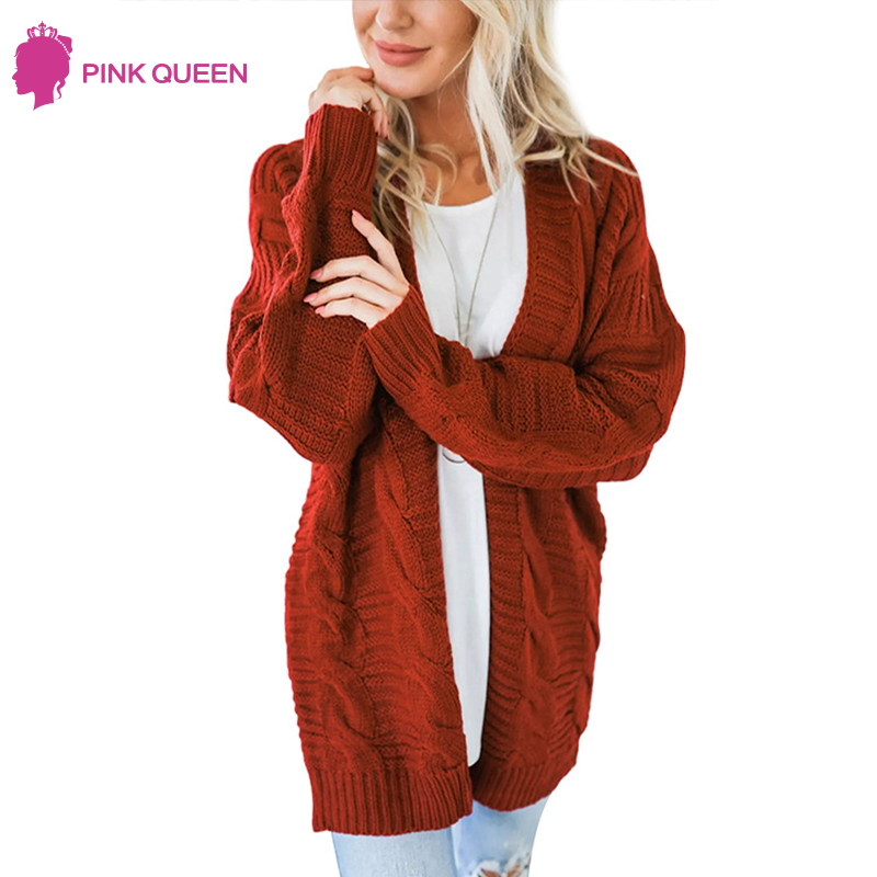2019 Autumn Twist Long Sleeve Cardigan Feminino Loose Sweater Women Winter Plus Size Knitted Cardigan Women's Coats Outerwear