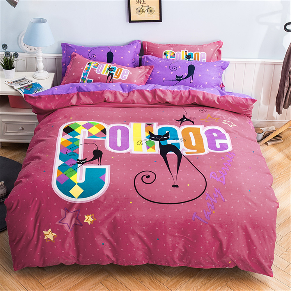 Bedroom sets for girls pink - Girls Bedroom Bedding Sets Pink And Purple Quilt Duvet Cover 4pcs Queen Full Size Cute Cats Girls Home Textiles Decor