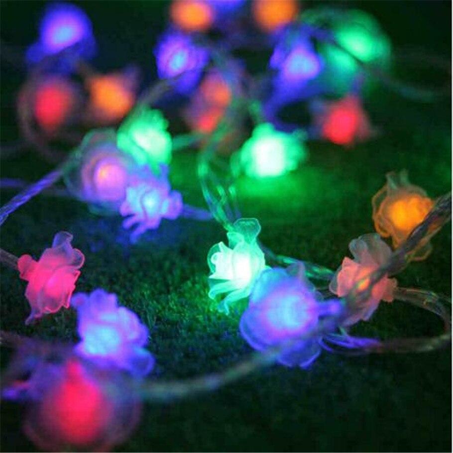 led flower fairy lights 50led rose flower string lights wedding garden party christmas decoration guirnalda luces rosa blanca in led string from lights - Flower Christmas Lights