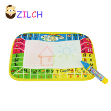 4 colors Russian Language Water Drawing Mat With 1 pcs Magic Pen / Aquadoodle Painting Rug Gift For Kids 45x29cm