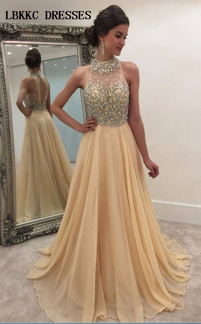 Champagne Long Chiffon   Prom     Dresses   2019 Halter Beaded Evening   Dress   Backless Sleeveless Sexy Vestidos De Gala Formal Party Gown