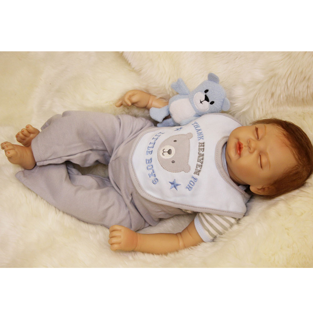 50-55CM New Hot Silicone Doll Reborn Baby boy realistic Handmade Cloth Body Reborn Babies Toys Growth Partners Best kids Gift partners lp cd