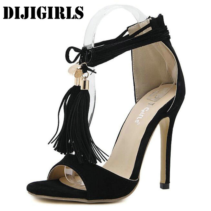 Women High Heels Sandals Tassel Open Toe Thin Heels Lace-Up Shoes Woman Fashion Rome Sexy Party Wedding Ladies Shoes Stilettos