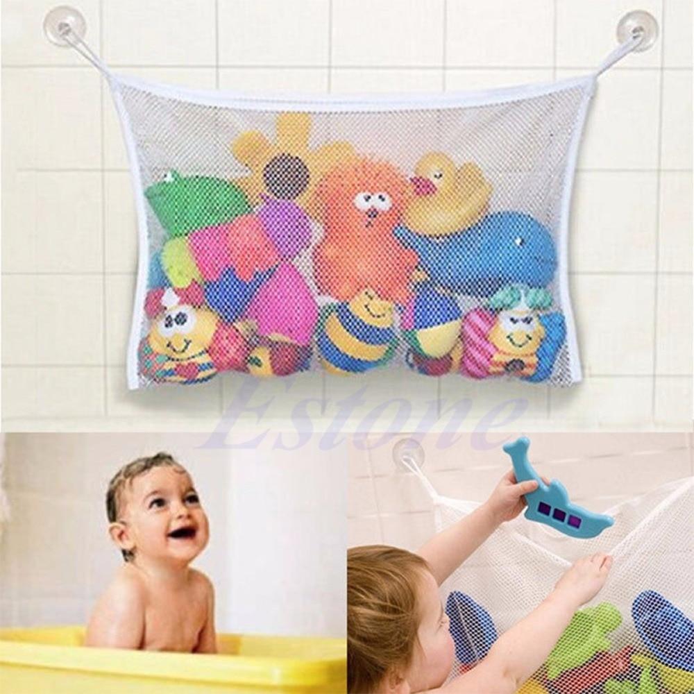 Kids Baby Bath Toy Tidy Storage Net Bag Mesh Bathroom Organiser Suction Cup ONE