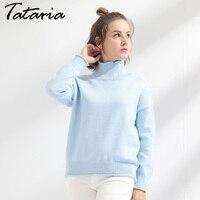 בגדי סוודר גולף סריגת סוודרים עבה החורף של נשים למשוך Femme Manche לונג Loose סוודר חם גבירותיי Tataria