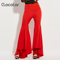Clocolor Women Pants High Waisted Trousers Slim Bellbottoms Red Flared Long Full Asymmetric Flared Fashion Women