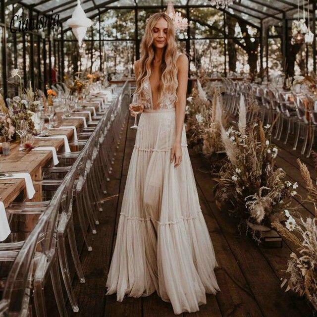 Nude Champagne Wedding Dresses 2021 Deep V-Neck Bohemia Deep V-Neck Whimsical Boho Dreamy Bridal Gowns Beach Vestido De Noiva 2