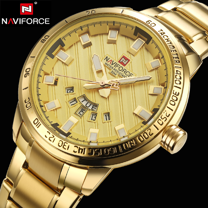 2017 NAVIFORCE New Gold Quartz Watches Men Top Brand Luxury Wrist Watches Golden Clock Male Relogio Masculino Quartz-Watch new naviforce men watch top brand luxury men s rose gold quartz wrist watches male 24 hour luminous date clock relogio masculino