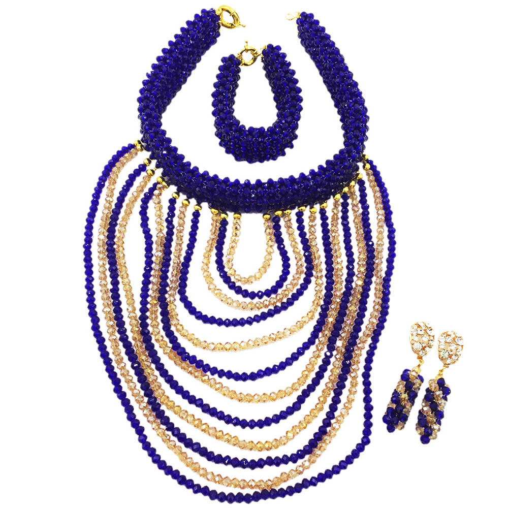 Women Fashion Royal Blue African Beads Jewelry Set Nigerian Wedding Necklace Bead Sets Party Gift DDK010Women Fashion Royal Blue African Beads Jewelry Set Nigerian Wedding Necklace Bead Sets Party Gift DDK010
