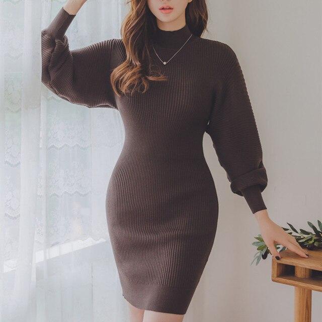 49464e22a10 2017 Vintage Women Winter Dress Elegant Sheath Lantern Sleeve Knitted Sweater  Dress Bodycon Office Work Lady
