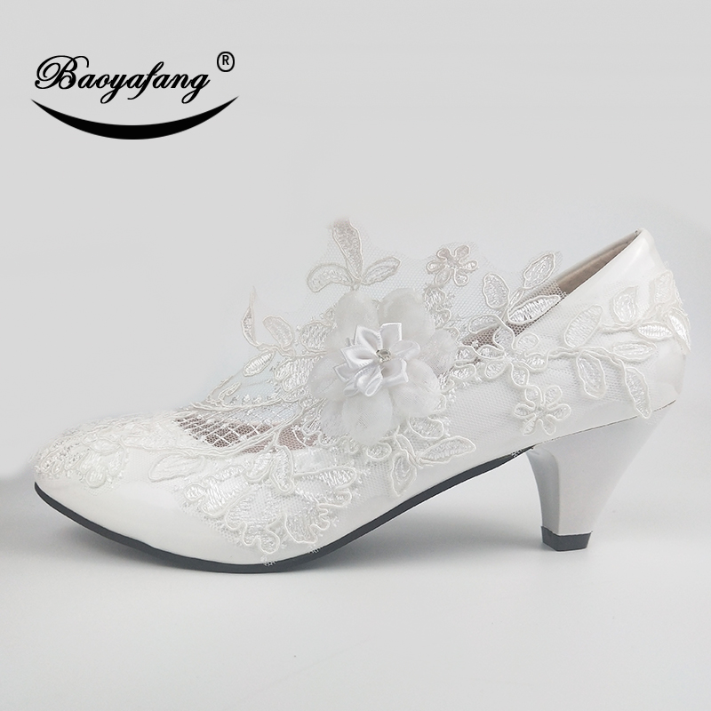 BaoYaFang White Flower Pumps New arrival womens wedding shoes Bride High heels platform shoes for woman ladies party dress shoes in Women 39 s Pumps from Shoes