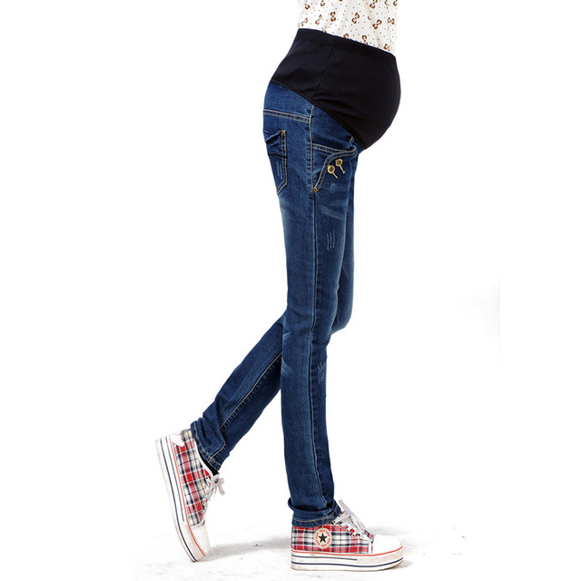 Fashion Pregnant Women Jeans Overalls Maternity Elastic Waist Denim Pants Belly Cover Trousers Pregnancy Pants