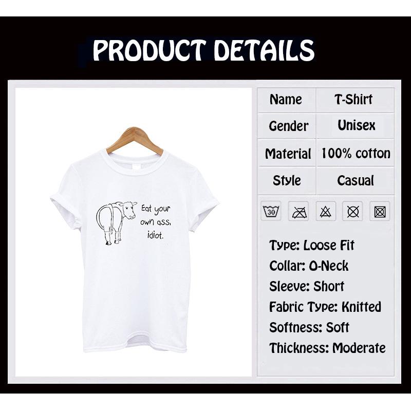 dc068ae3f EnjoytheSpirit Women T Shirt Vegan Clothing Eat Your Own Ass Cow Funny  Printing Tshirt Casual Lose Fit Unisex Summer Tee