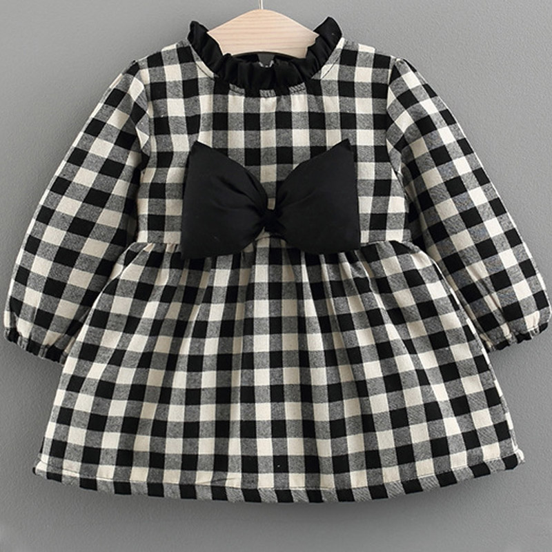 Infant Baby Bow Decor Plaid Princess Dress Long Sleeve A-line Plush Padded Warm Dress Kids Toddler Autumn Winter Clothing warm thicken baby rompers long sleeve organic cotton autumn