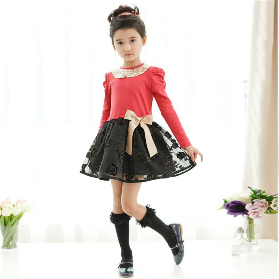2016 Kids Clothes Brands Girls Princess Dress Summer Bow Girls Sress Vintage Flower Baby Girl Tutu Dresses Party Vestidos
