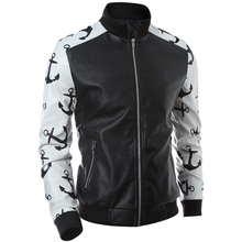 New Style Mens Faux Fux Leather Jacket Male Coat Red White Sleeve Patchwork Designs Stand Collar