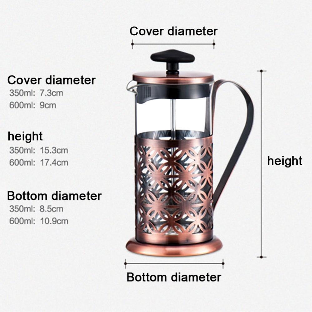 Alloet 600ml Stainless Steel Manual Coffee Maker Vintage French Press Moka Coffee Pot Brewer Teapot Filter Percolator Tool (1)
