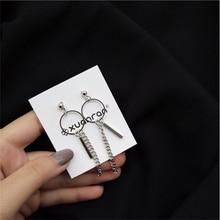 все цены на Silver Tassel Long chain Pendant earrings circle metal earrings geometric long ear line Lady Fashion simple jewelry Women онлайн