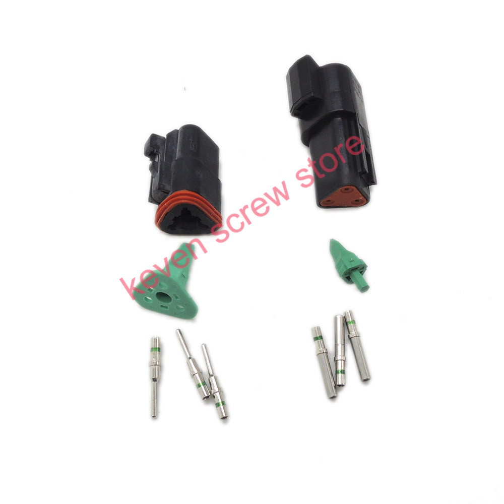 цена на black 1 sets Kit Deutsch DT 3 Pin Waterproof Electrical Wire Connector plug Kit  DT06-3S DT04-3P,14GA