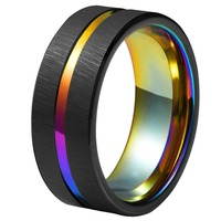 Rainbow Tungsten Ring 8mm Tungsten Carbide Wedding Rings Rainbow Groove Center and IP Plating Mens Fashion Jewelry