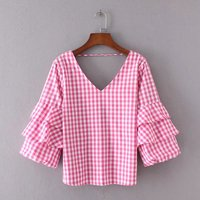 Red Gingham Bell Sleeve Blouse Women 2017 Spring Summer Fashion V Neck Backless Shirts And Blouses