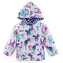 Yuding Cartoon Waterproof Raincoat Animal Wind Resistant Kids Hooded Rain Jacket Baby Girls Boys Toddlers Rainwear For Children