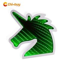 Chibuy Creative USB Unicorn Led Infinity Mirror Tunnel Lamp light LED Novel Home Decoration tunnel mirror